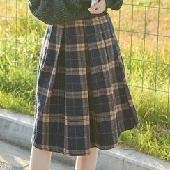 Moriville - Plaid A-Line Skirt