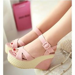 Freesia - Cross Strap Wedge Sandals