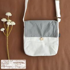 Cutie Bazaar - Two-tone Canvas Shoulder Bag