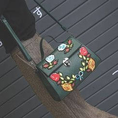 Secret Garden - Floral Applique Shoulder Bag