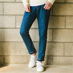 STYLEMAN - Elastic-Waist Washed Jeans