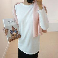 STYLEBYYAM - Brushed Fleece Round-Neck T-Shirt