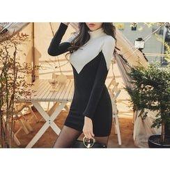 UUZONE - Color-Block Rib-Knit Dress