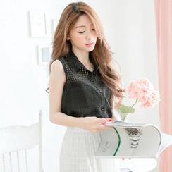 Tokyo Fashion - Sleeveless Check Tulle Shirt