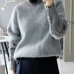 lilygirl - Cable Knit Panel Sweater