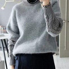 lilygirl - 秋冬新款寬松麻花袖拼接針織衫上衣韓版復古套頭毛衣