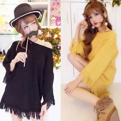 Queen Bee - Fray 3/4-Sleeve Knit Top