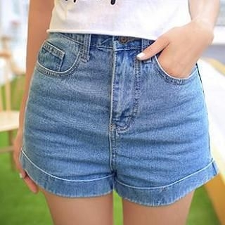 MISS BIG - High-Waist Washed Denim Shorts