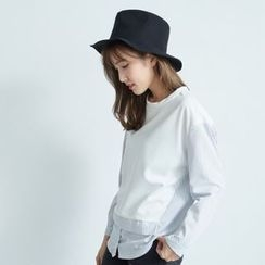 BAIMOMO - Mock Two Piece Stripe-Panel Top