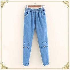 Fairyland - Cat Embroidered Washed Jeans