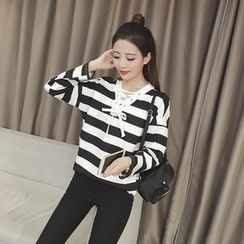 Bloombloom - Lace-Up Striped Long-Sleeve T-Shirt