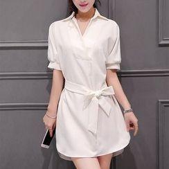 Aikoo - Short-Sleeve Chiffon Long Shirt