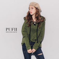 PUFII - Lace-up Front Hooded Pullover