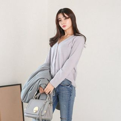 Seoul Fashion - Faux-Pearl Button Ribbed Cardigan