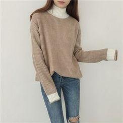 monroll - 配色邊粗織毛衣