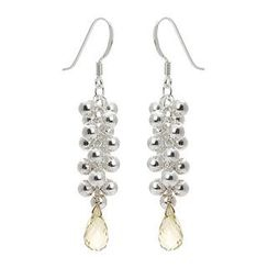 Keleo - Silver, lemon quartz earrings