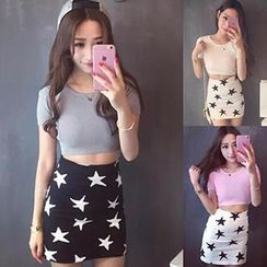 Bloombloom - Set: Short-Sleeve Top + Star Print Skirt