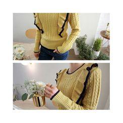 LEELIN - Ruffle-Shoulder Cable-Knit Sweater