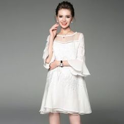 Ozipan - Embroidered Ruffled A-Line Dress