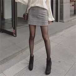 TOM & RABBIT - Glen-Plaid A-Line Mini Skirt