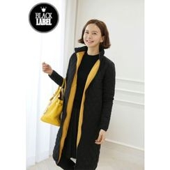 Lemite - High-Neck Quilted Zip-Up Long Coat