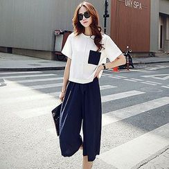 Fashion Street - Set: Short-Sleeve Applique T-Shirt + Cropped Wide Leg Pants