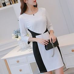 Q.C.T - Long-Sleeve Color Block Sheath Dress