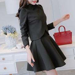 Q.C.T - 套装: 西装外套 + 无袖A字连衣裙
