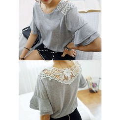 REDOPIN - Lace-Trim Top
