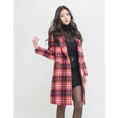 GUMZZI - Wool Blend Plaid Coat