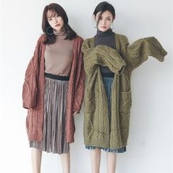 Hanme - Cable-Knit Long Cardigan