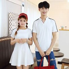 TIRRA - Couple Matching Short-Sleeve Polo Shirt / A-line Dress
