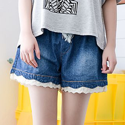 Moriville - Lace trim Denim Shorts