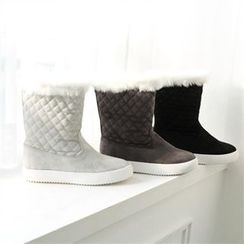 GLAM12 - Faux-Fur Trim Boots