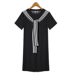 GRACI - Short-Sleeve Tie Neck T-Shirt Dress