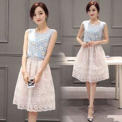 EFO - Set: Sleeveless Applique Top + Embroidery Skirt