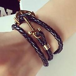 Ticoo - Faux Leather Sailor Anchor Bracelet