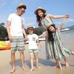 Hinode - Family Matching Set: Short Sleeve T-Shirt + Printed Shorts/ Printed Sleeveless Dress