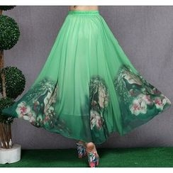 Diosa - Floral Print Chiffon Skirt