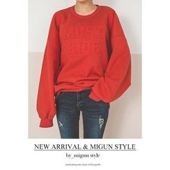 migunstyle - Round-Neck Lettering Pullover
