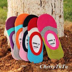 CherryTuTu - Color-Block No-Show Socks
