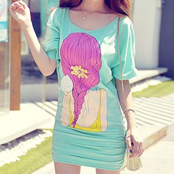 粉红大布娃娃 - 五分袖印花连衣裙