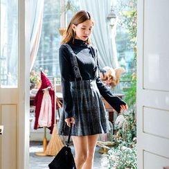 icecream12 - Check Mini Suspender Dress
