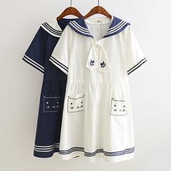 Acoustic Rain - 猫刺绣水手领短袖连衣裙