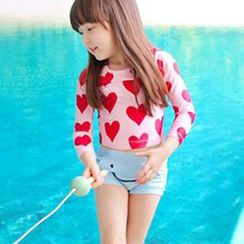 Moonrise Swimwear - Kids Set: Heart Print Rashguard + Smiley Print Swim Shorts