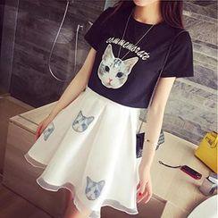 Fashion Street - Set: Cat Print T-Shirt + Cat Print Skirt