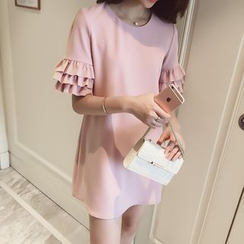 Oaksa - Frill Sleeve Chiffon Dress