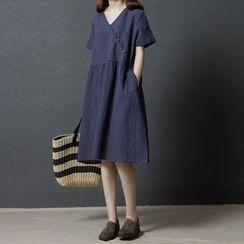 SEPH - V-Neck Short-Sleeve A-Line Midi Dress