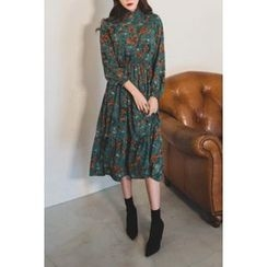 migunstyle - Frilled-Trim Floral Print Long Dress