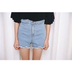 SUYISODA - Fray Denim Shorts